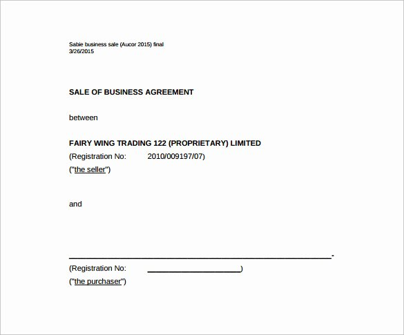 Business Sale Agreement Template Inspirational Sales Agreement Template