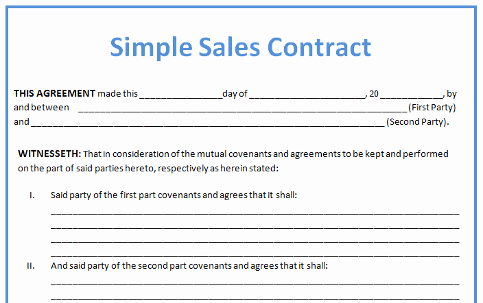 Business Sale Agreement Template Inspirational Simple Business Contract Example for Sales with Blank