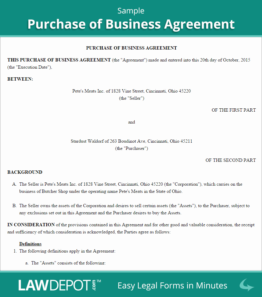 Business Sale Agreement Template Lovely Purchase Of Business Agreement Template Us