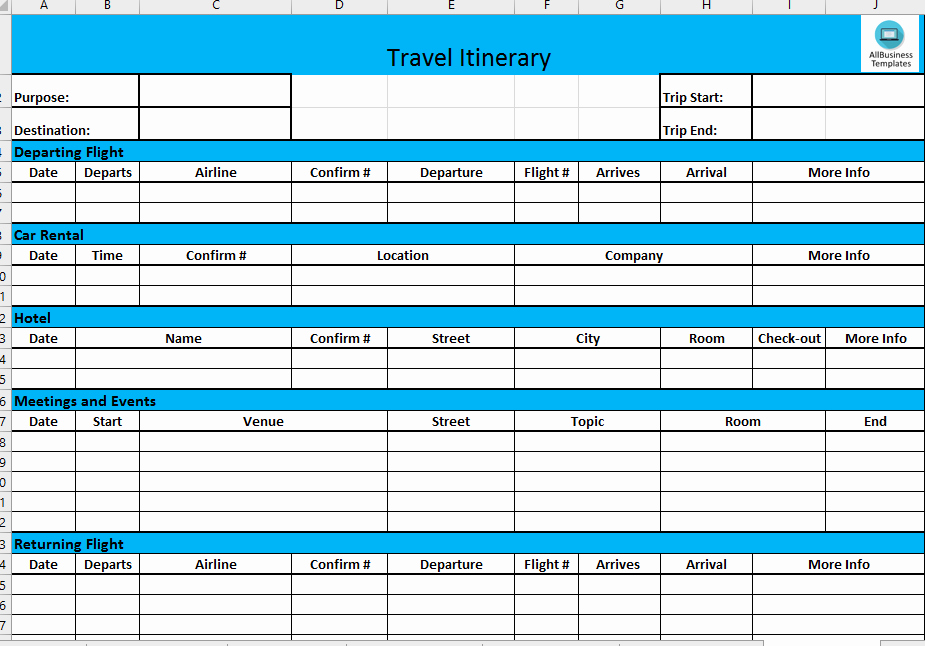 Business Travel Itinerary Template Awesome Business Travel Itinerary Template