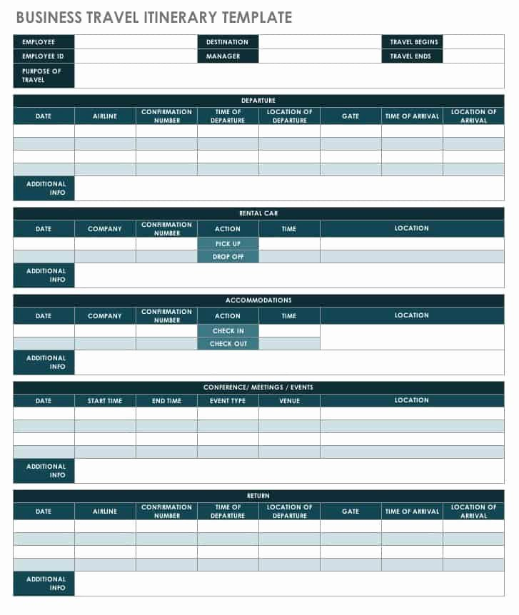 Business Travel Itinerary Template Best Of Free Itinerary Templates