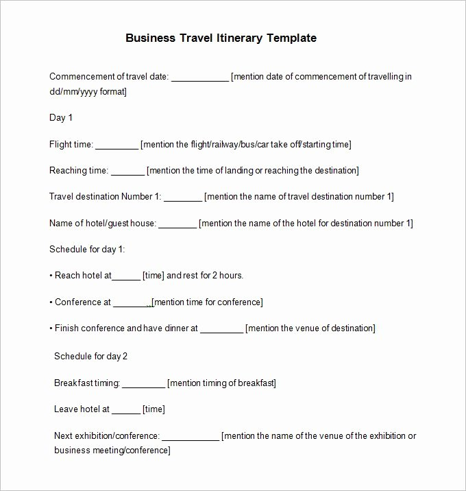 Business Travel Itinerary Template Best Of Travel Itinerary Example 12 Free Word Pdf Documents