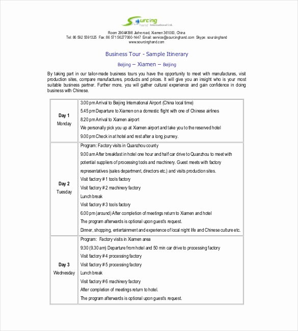 Business Travel Itinerary Template Fresh Itinerary Template – 15 Free Word Excel Pdf Documents