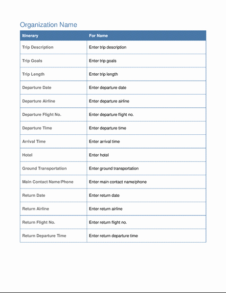 Business Travel Itinerary Template Inspirational Business Trip Itinerary with Meeting Schedule