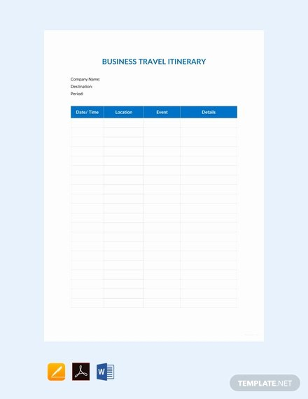 Business Travel Itinerary Template New 42 Free Itinerary Templates In Pdf