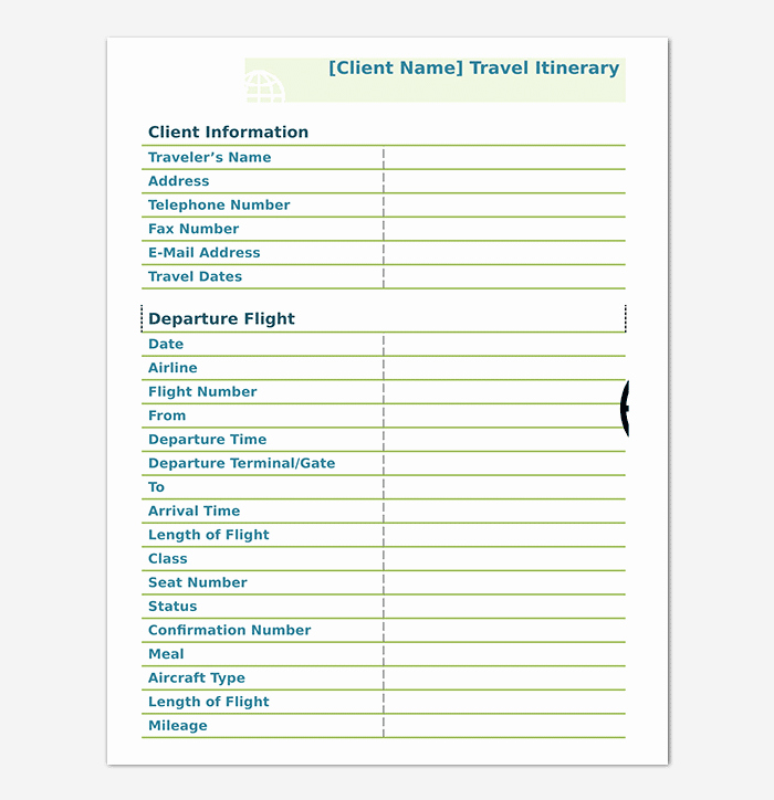 Business Travel Itinerary Template Unique Business Travel Itinerary Template 23 Word Excel & Pdf