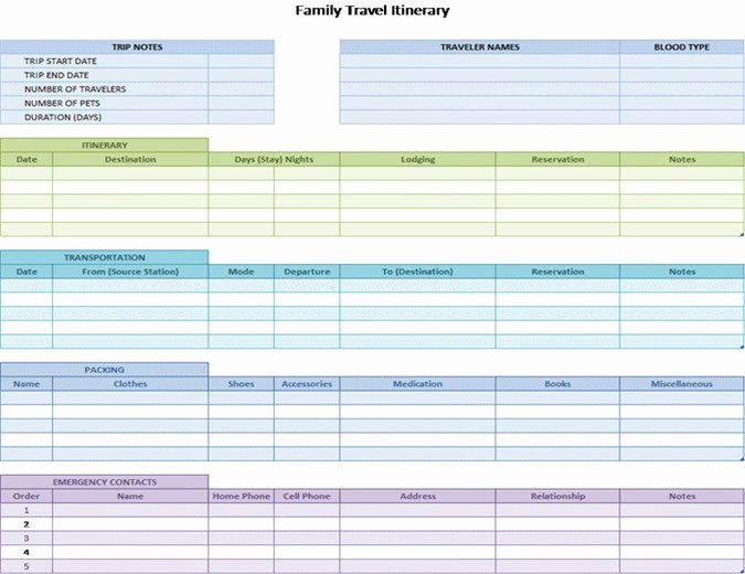 Business Travel Itinerary Template Unique Family Travel Itinerary