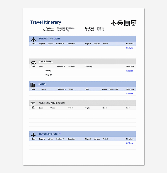 Business Trip Itinerary Template Inspirational Business Travel Itinerary Template 23 Word Excel & Pdf