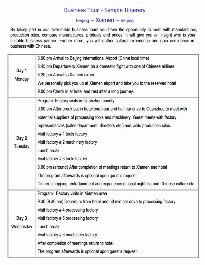 Business Trip Itinerary Template New 17 Travel Itinerary Templates – Free Sample Example