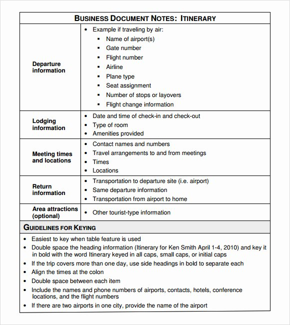 Business Trip Itinerary Template New Free 7 Useful Business Itinerary Templates In Pdf