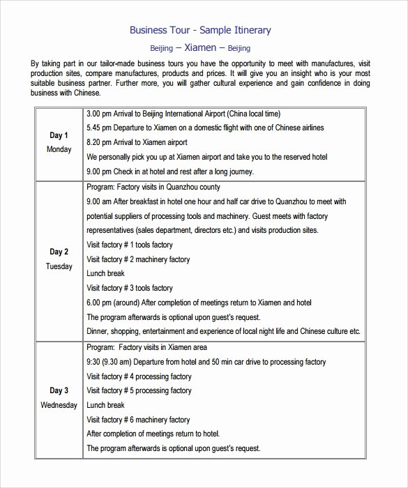 Business Trip Itinerary Template Unique Sample Itinerary Template 7 Free Documents In Pdf