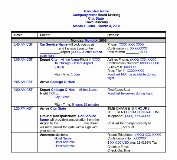 Business Trip Itinerary Template Unique Travel Itinerary Template