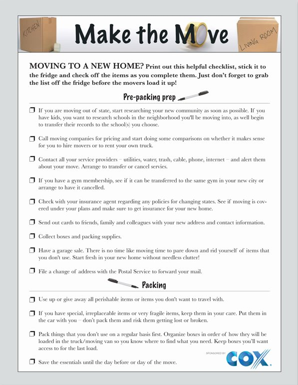 Buying A House Checklist Template Beautiful Printable Moving Checklist