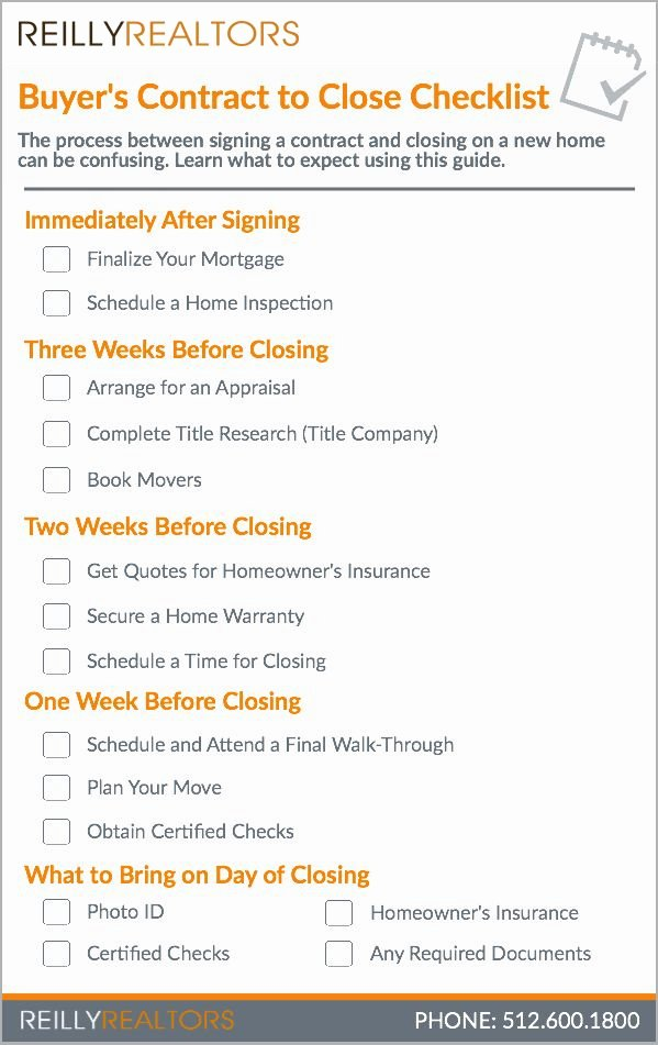 Buying A House Checklist Template Best Of Buyer S Contract to Close Checklist