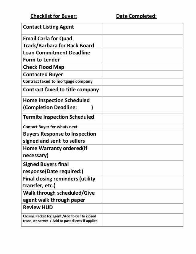 Buying A House Checklist Template Lovely Checklist for Buyer Contact Listing Agent Email Carla for