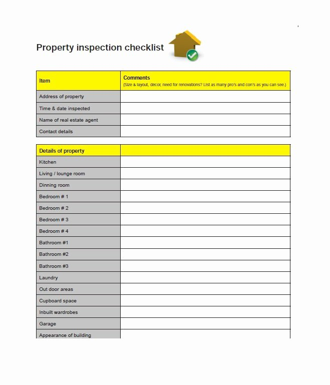 Buying A House Checklist Template New 20 Printable Home Inspection Checklists Word Pdf