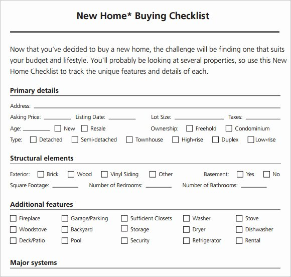 Buying A House Checklist Template New Free 8 New Apartment Checklist Samples In Google Docs
