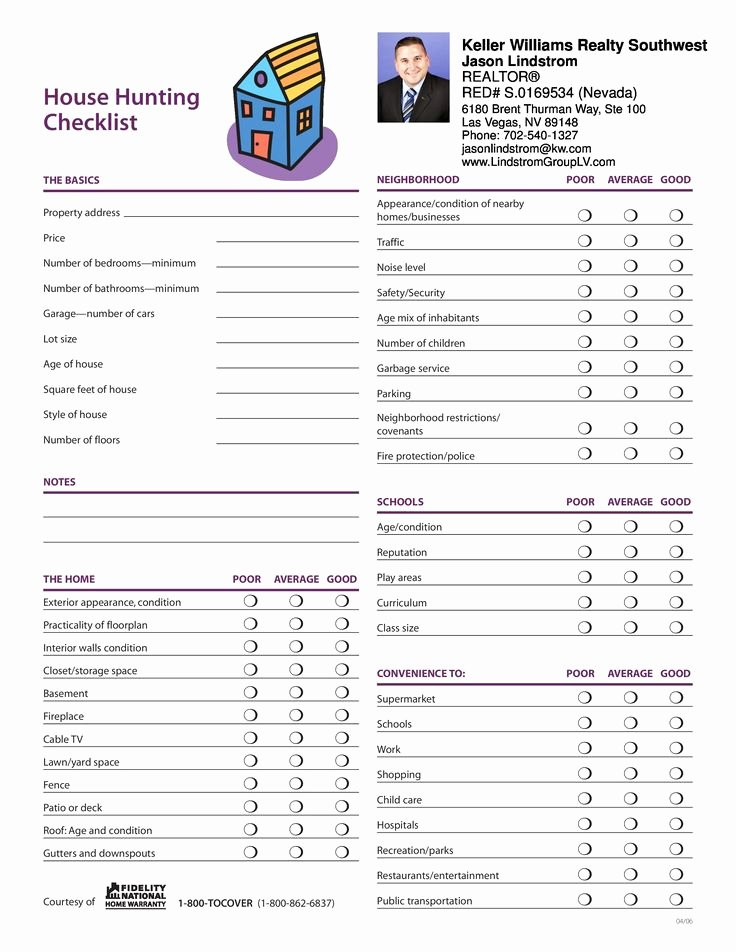 Buying A House Checklist Template New Jason Lindstrom House Hunting Checklist