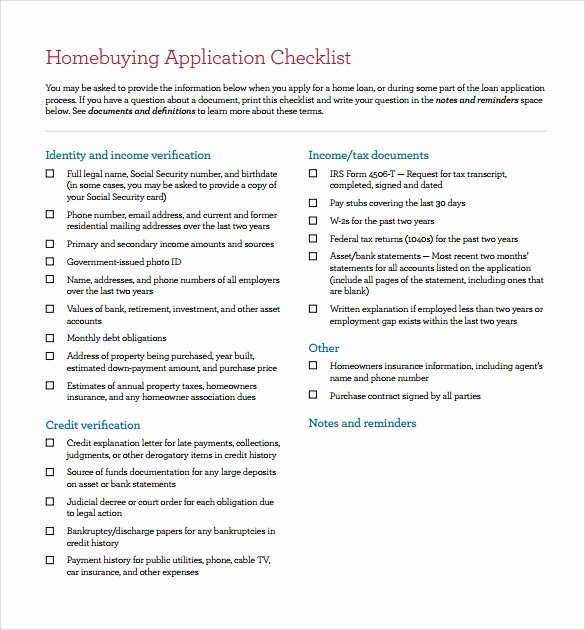 sample home ing checklist