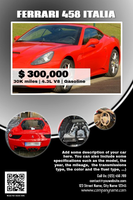 Car for Sale Flyer Template Awesome Car Sale Flyer Template Black