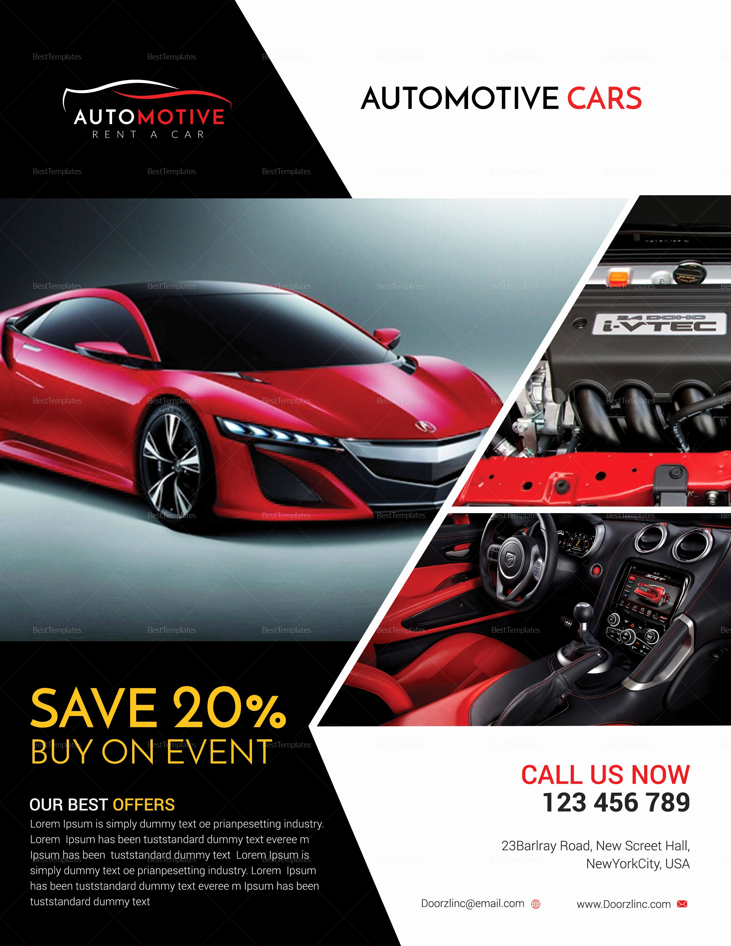 Car for Sale Flyer Template Elegant Automotive Car Sales Flyer Design Template In Psd