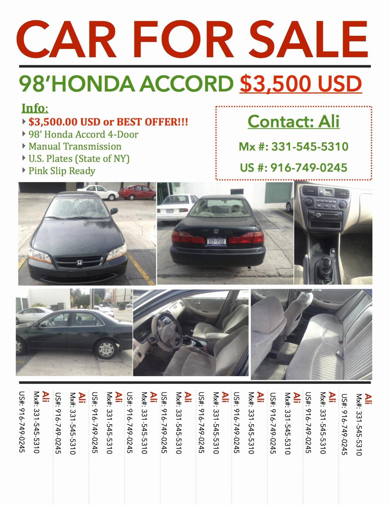 Car for Sale Flyer Template Elegant Car for Sale Honda Accord