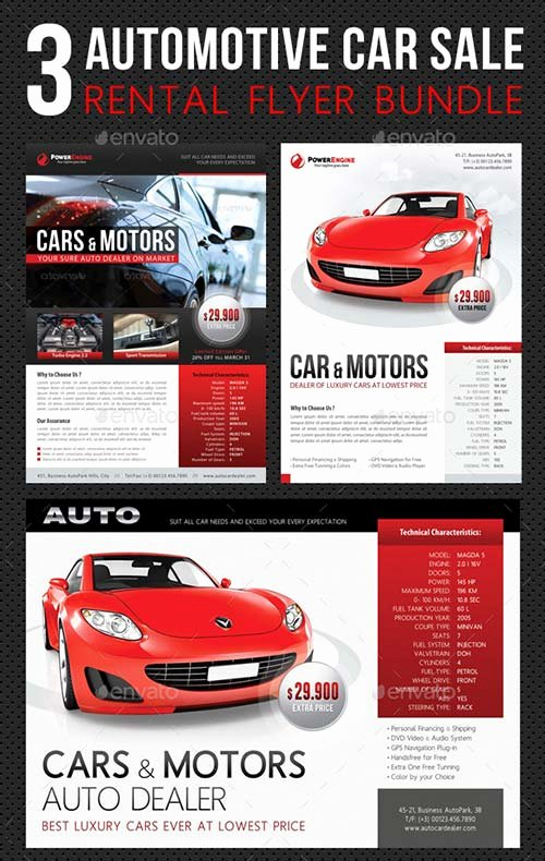 Car for Sale Flyer Template Lovely Graphicriver 3 In 1 Automotive Car Sale Rental Flyer Bundle