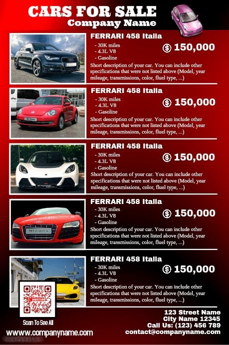 Car for Sale Flyer Template Luxury Red Glossy Cars for Sale Poster Car Dealership Poster