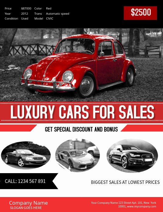 Car for Sale Flyer Template New Red Car Sale Poster Template