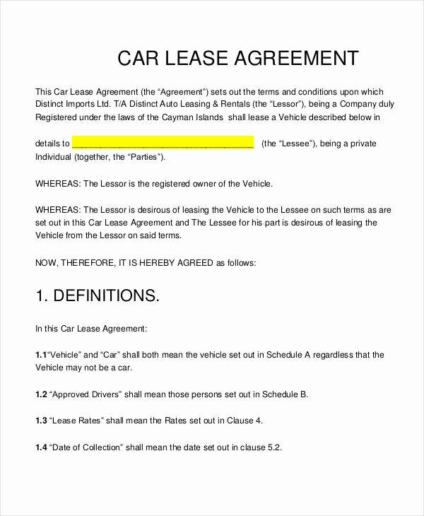 Car Lease Agreement Template Best Of 12 Lease Contract Templates Word Google Docs format