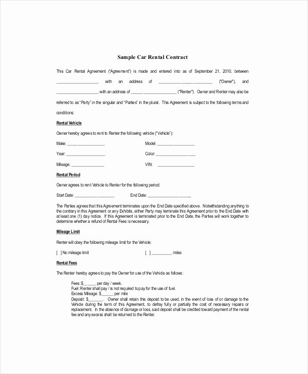 Car Lease Agreement Template Elegant Blank Lease Template 6 Free Word Pdf Documents