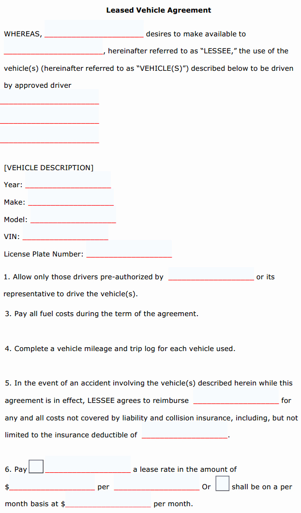 Car Lease Agreement Template Elegant Vehicle Lease Agreement Template Sample Vehicle Lease