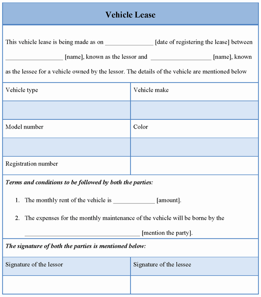 Car Lease Agreement Template Lovely Lease Template for Vehicle format Of Vehicle Lease