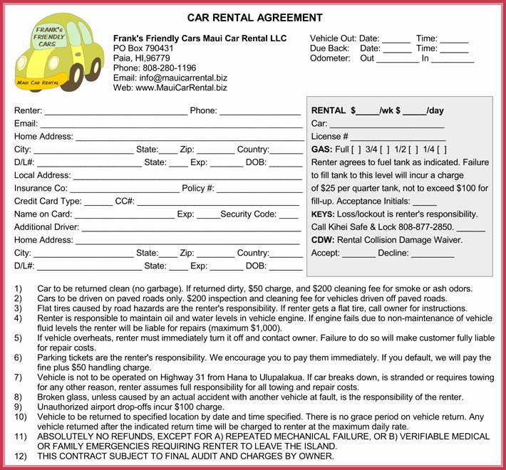 Car Lease Agreement Template Luxury Car Rental Agreement 7 Samples forms Download In