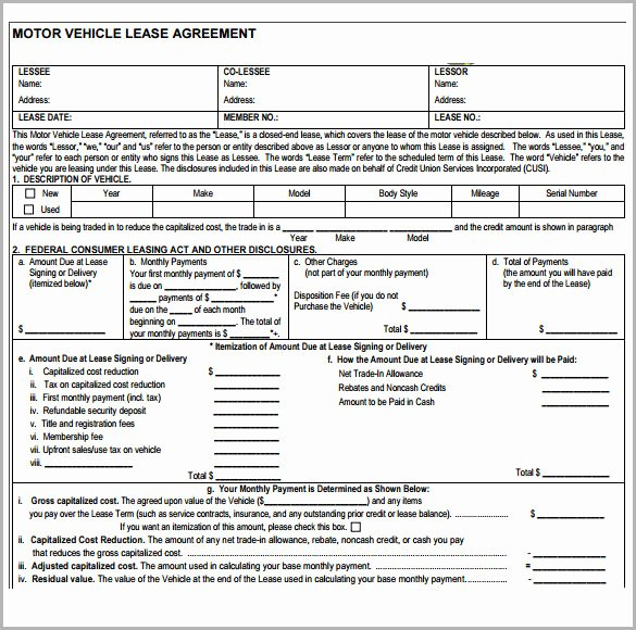 Car Lease Agreement Template Luxury Sample Vehicle Lease Agreement Template 7 Free