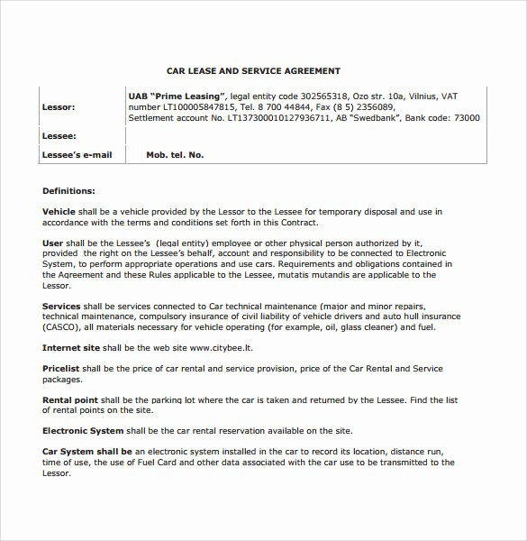 Car Lease Agreement Template New Sample Vehicle Lease Agreement Template 7 Free