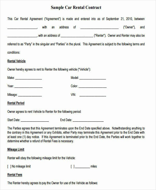 Car Lease Agreement Template Unique 38 Lease Agreement forms