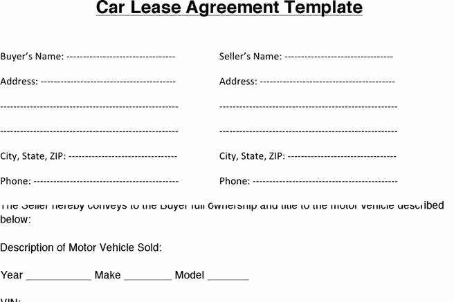 Car Lease Agreement Template Unique Auto Lease Agreement Pdf Quick Rent and Lease Template