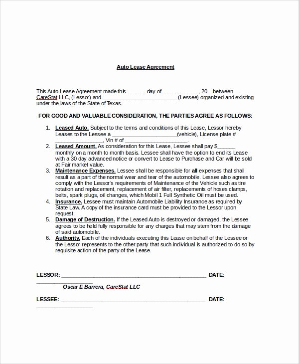 Car Lease Agreement Template Unique Sample Blank Lease Agreement 7 Documents In Pdf Word