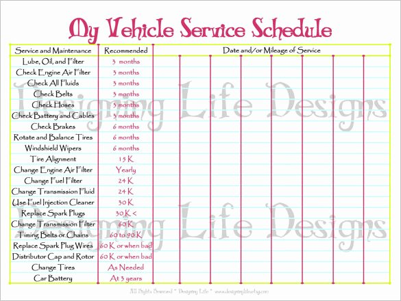 Car Maintenance Schedule Template Awesome Maintenance Schedule Template 20 Free Sample Example
