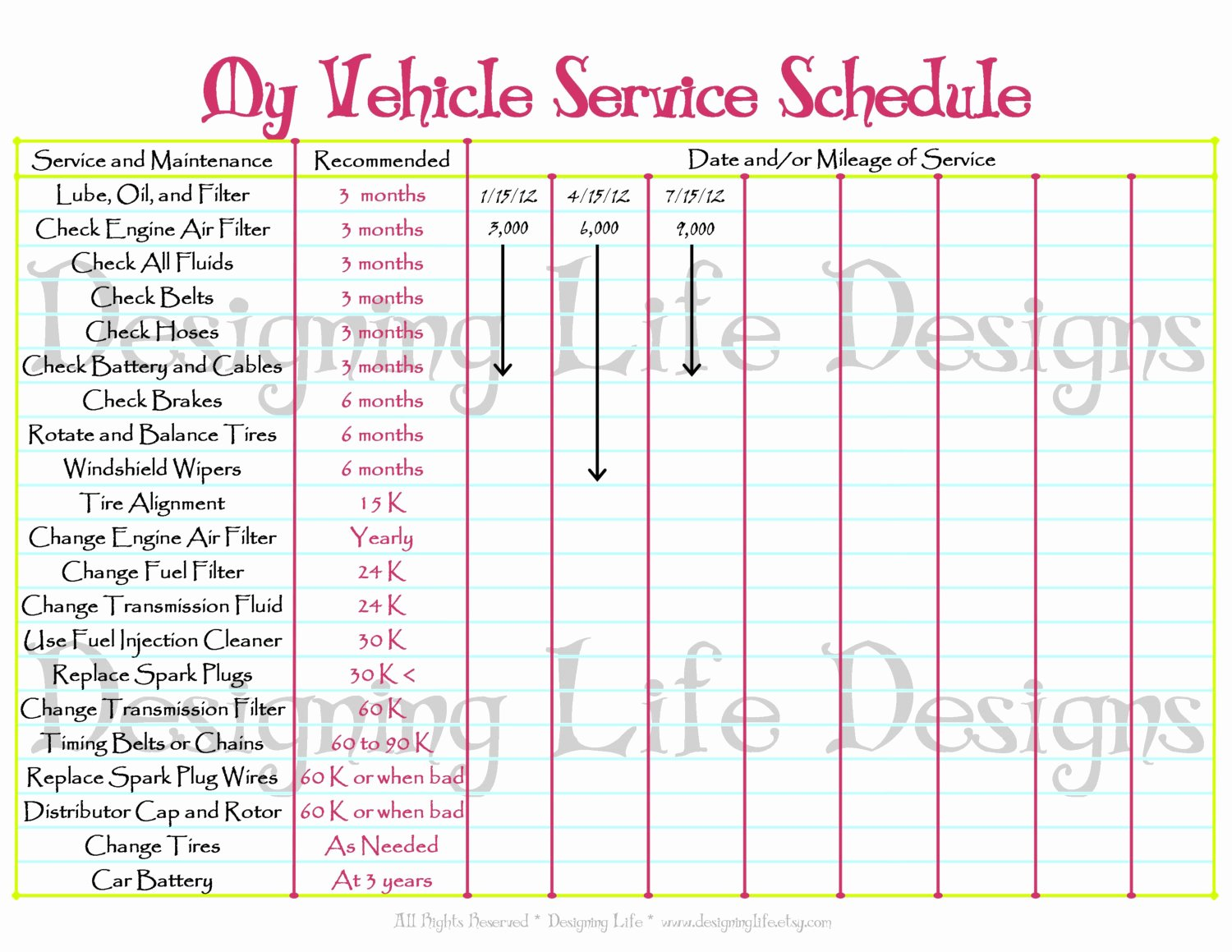 Car Maintenance Schedule Template Best Of Car Schedule Printable Editable Service Log Home Binder
