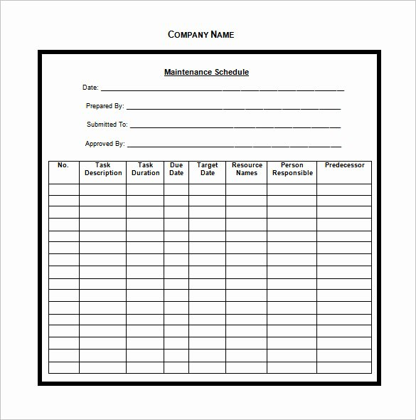 Car Maintenance Schedule Template Best Of Vehicle Maintenance Schedule Template 13 Free Word