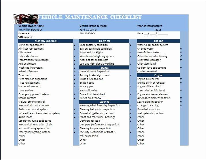 Car Maintenance Schedule Template Inspirational General Vehicle Maintenance Checklist Template