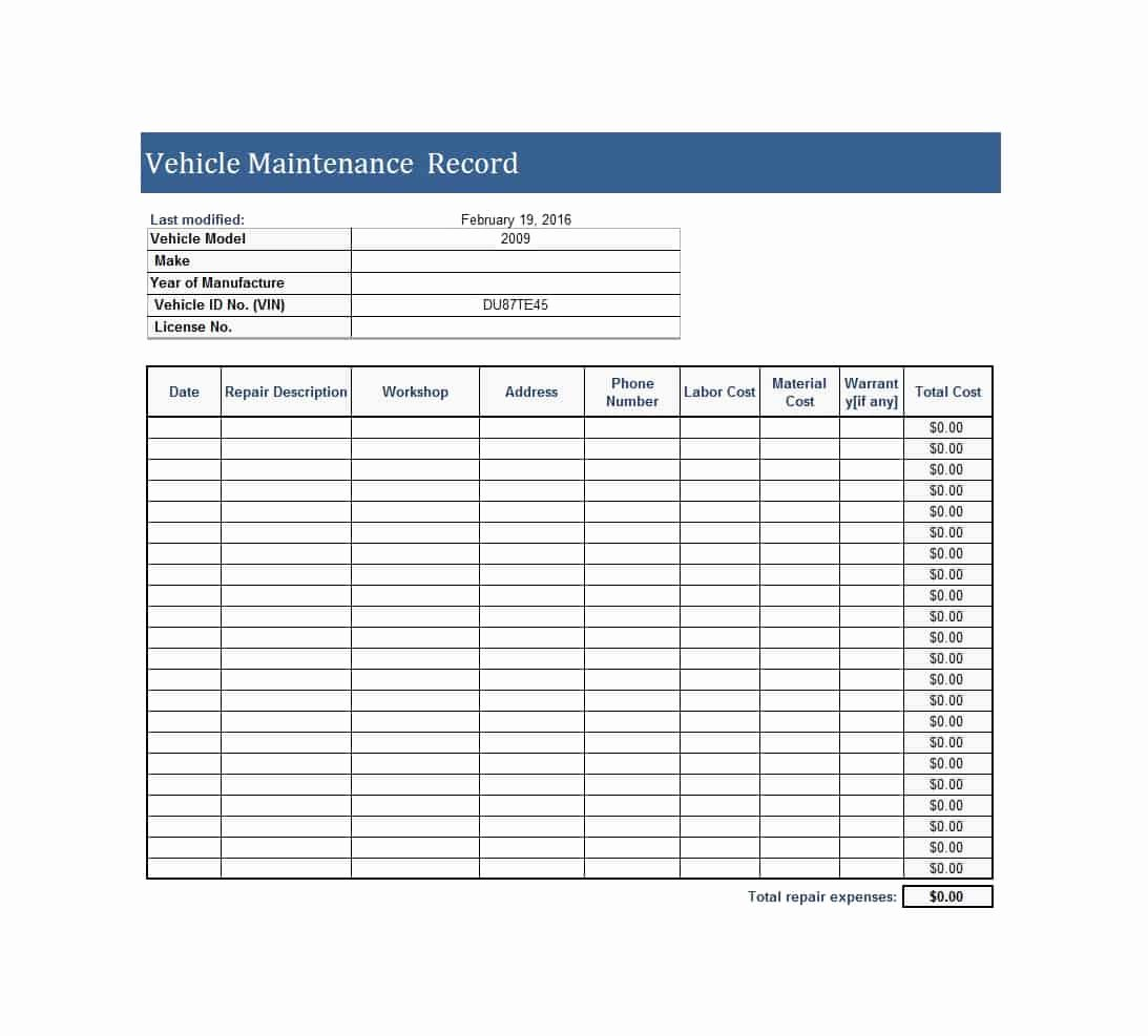 Car Maintenance Schedule Template Unique 40 Printable Vehicle Maintenance Log Templates Template Lab