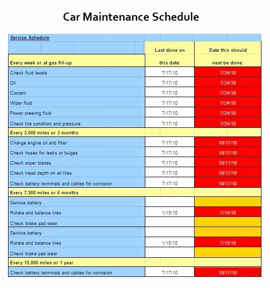 Car Maintenance Schedule Template Unique Building Maintenance Schedule Template