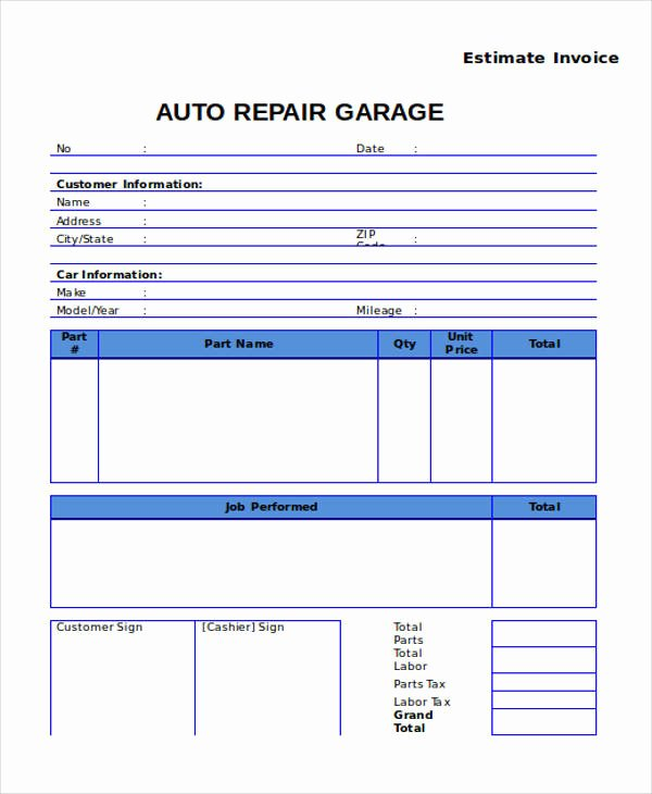 Car Repair Invoice Template Elegant 9 Auto Repair Invoice Templates Free Word Pdf Excel