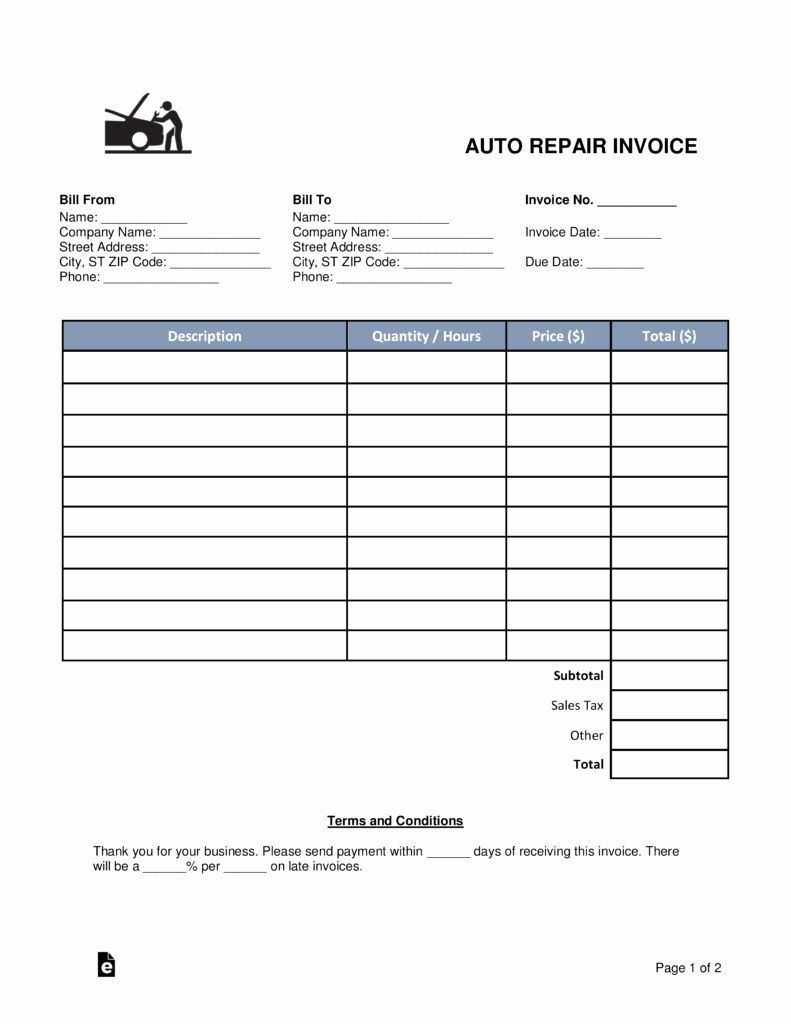 Car Repair Invoice Template Elegant Free Auto Body Mechanic Invoice Template Word