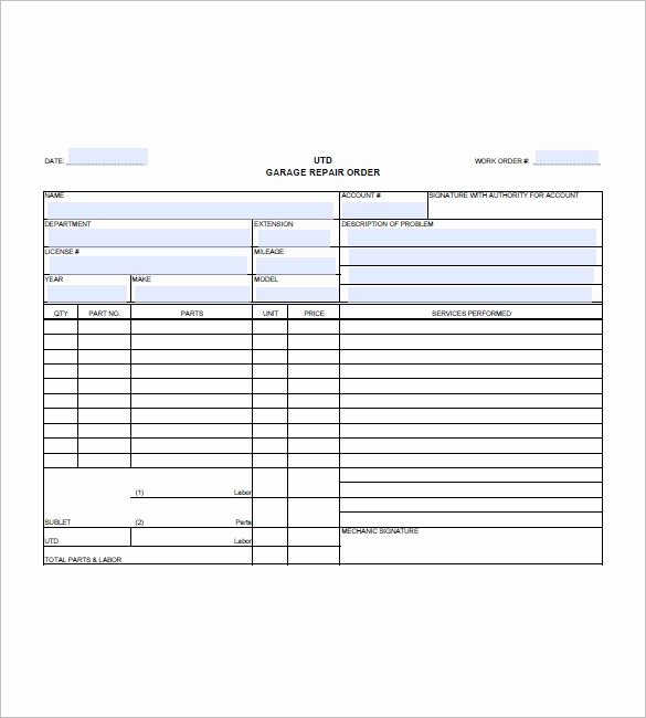 Car Repair Invoice Template Inspirational Auto Repair Invoice Templates