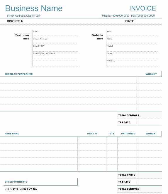 Car Repair Invoice Template Unique 9 Free Sample Auto Repair Quotation Templates Printable