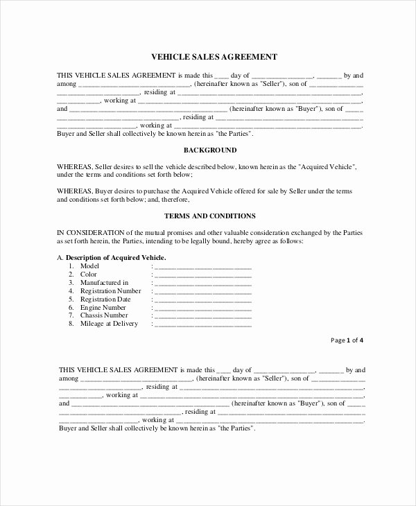 Car Sale Agreement Template Best Of 20 Purchase and Sale Agreement Templates Word Pdf